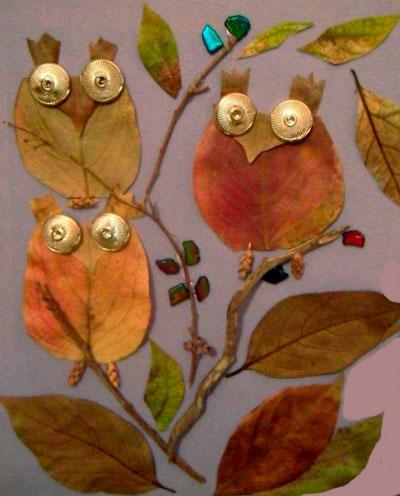 осенняя поделка в сад из листьев 4