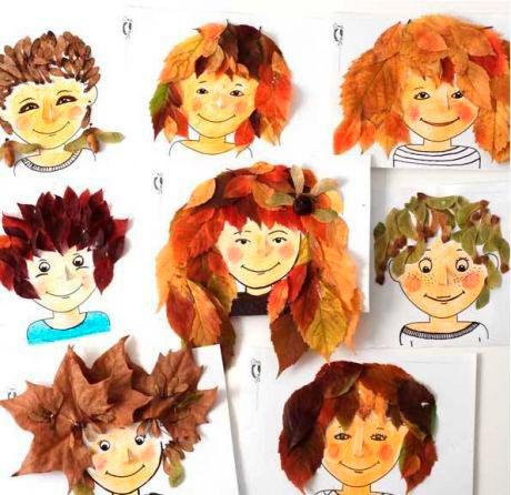 поделка прическа из листьев в детский сад 5