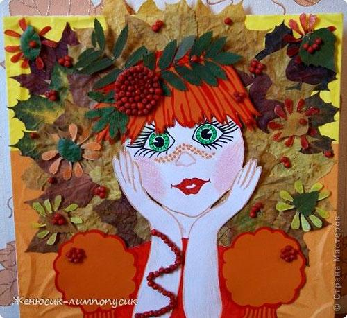 поделка прическа из листьев в детский сад 3