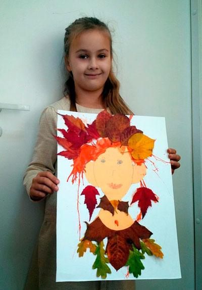 поделка прическа из листьев в детский сад 2
