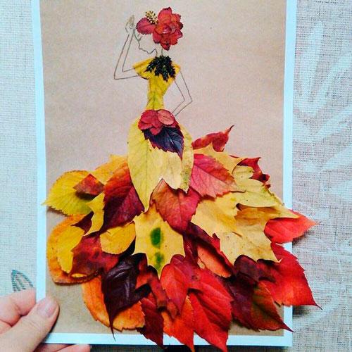 поделка в сад из осенних листьев своими руками 8