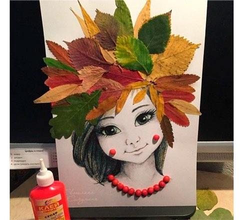 поделка прическа из листьев в детский сад