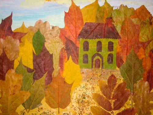 осенняя поделка в сад из листьев 7