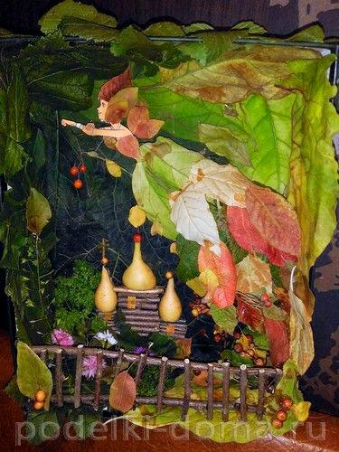 осенняя поделка в сад из листьев 9