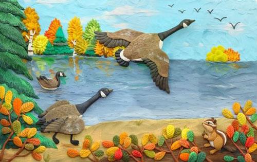 картина из пластилина на тему осень