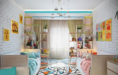 комната для двух подростков мальчика и девочки