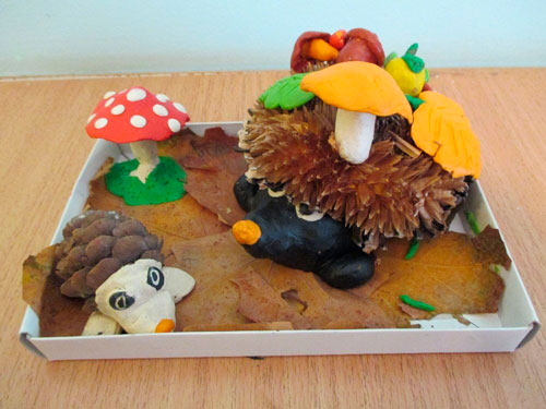 Поделки из пластилина на тему осень в школу