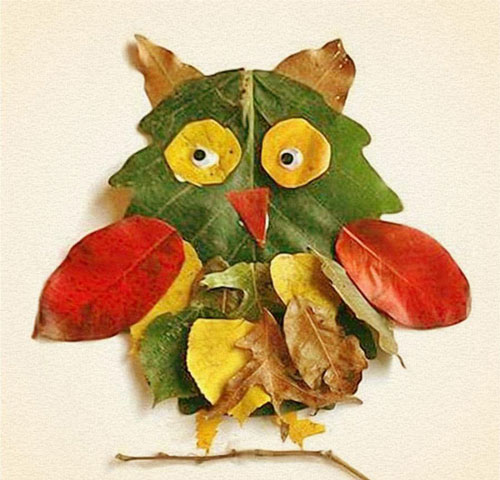 Осенние поделки в садик сова из листьев 2