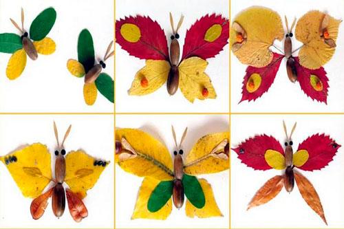 осенняя поделка бабочка из листьев в садик 3