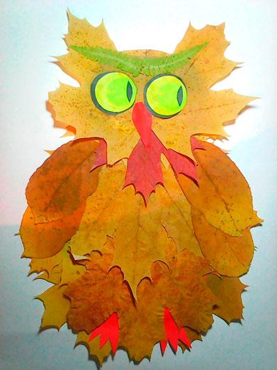 осенняя поделка сова из листьев