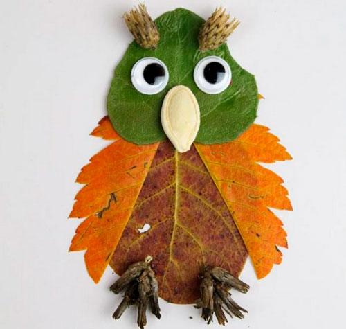 осенняя поделка сова из листьев 2