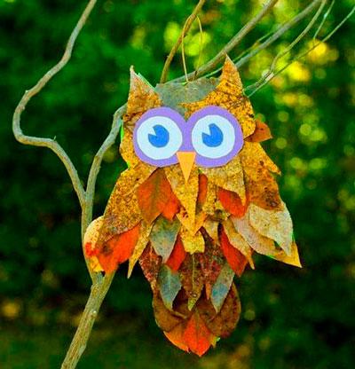 осенняя поделка сова из листьев 5