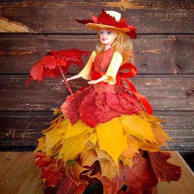 поделка платье из листьев для куклы в детский сад