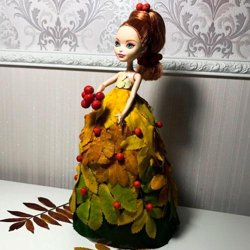 поделка платье из листьев для куклы