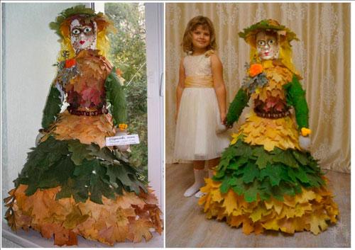 поделка платье из листьев для куклы в детский сад 4