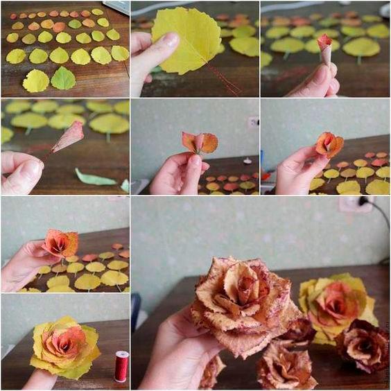 поделка розы из осенних листьев в сад 2