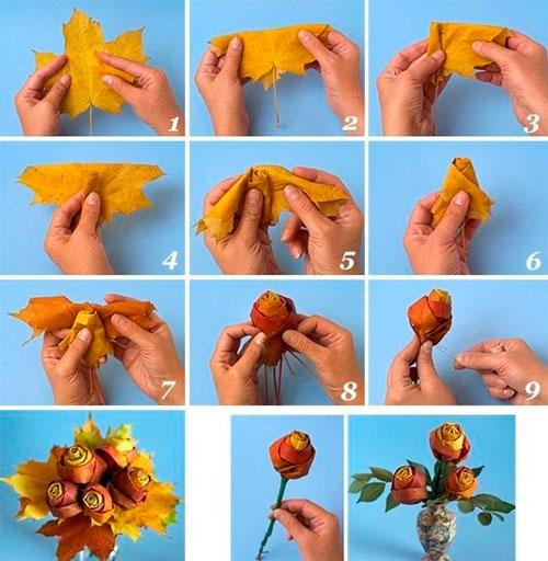поделка розы из осенних листьев в сад