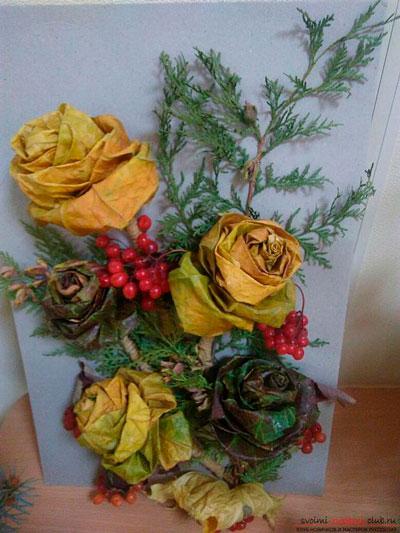 поделка розы из осенних листьев в сад 3