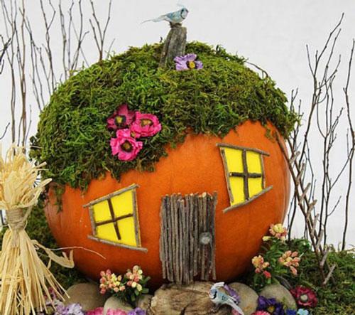 поделка сказочный домик из тыквы