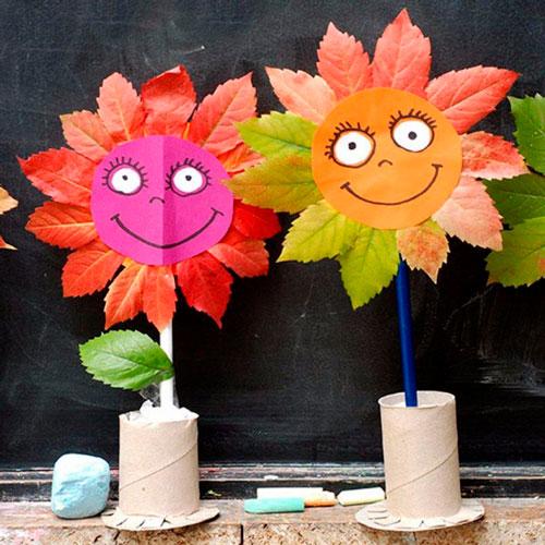 поделки детям из осенних листьев в сад 3