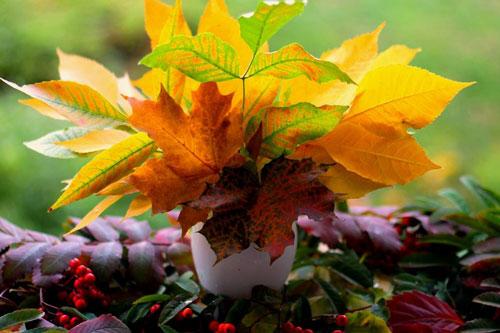 поделки детям из осенних листьев