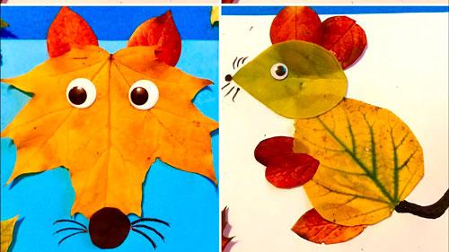осенняя поделка из листьев в детский сад фото