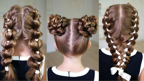прическа для девочки на длинные волосы на 1 сентября