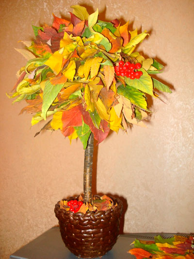 сделать осеннюю поделку из листьев 2