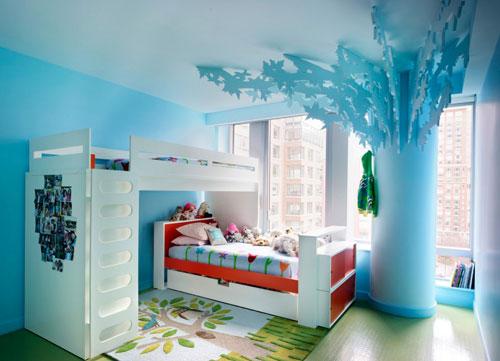 Интерьер детской комнаты для мальчика и девочки в голубом цвете