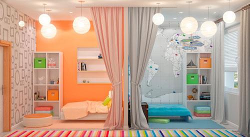 зонирование комнаты с детской зоной