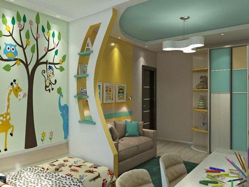 зонирование детской комнаты мальчик и девочка