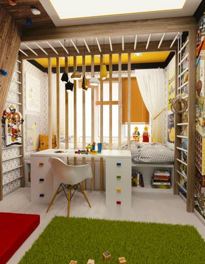 реальные фото зонирования детской комнаты