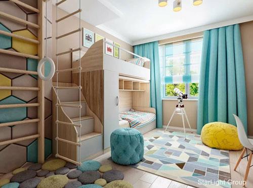 фото зонирования детской комнаты и гостиной