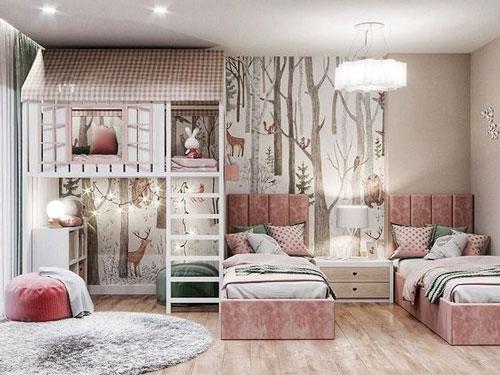 зонирование комнаты перегородкой фото детская