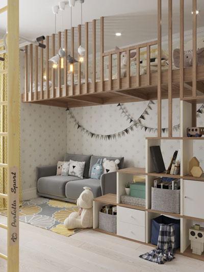 перегородка для зонирования детской комнаты 1