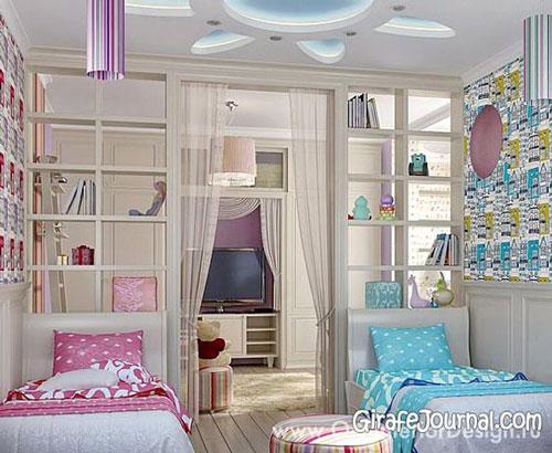 зонирование комнаты для разнополых детей 12