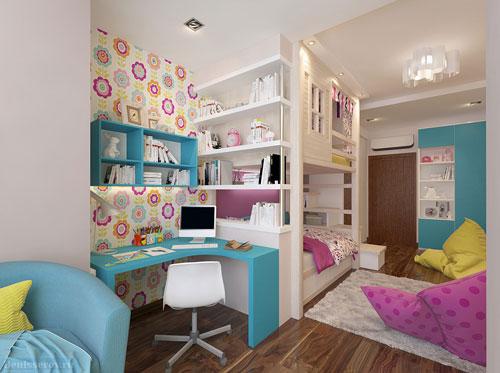 зонирование детской комнаты и спальни родителей