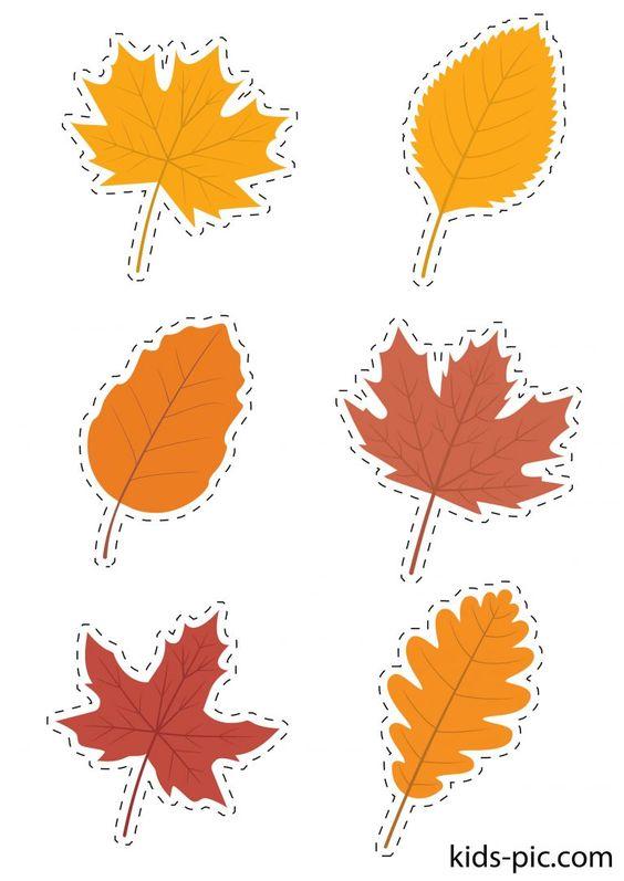 осенние листья из бумаги трафарет 4
