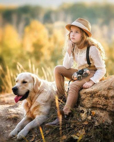 Как красиво сфотографировать ребенка с собакой