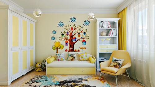 Оформление стен в детской комнате наклейками 2
