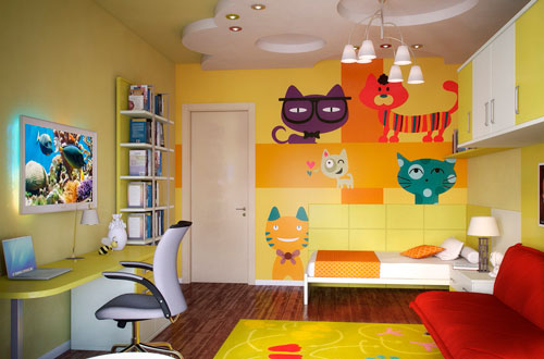 как оформить стены в детской комнате