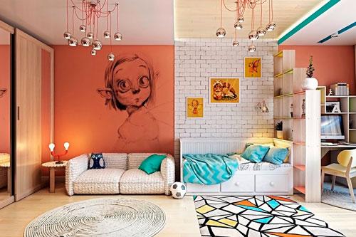 Оформление стен в детской комнате для подростка