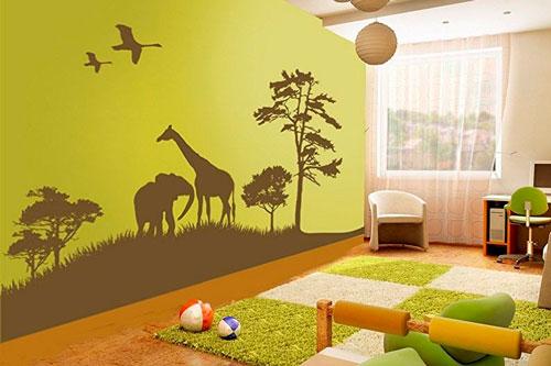 стены в детской комнате с наклейками 2