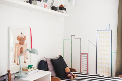 интересное оформление стен в детской