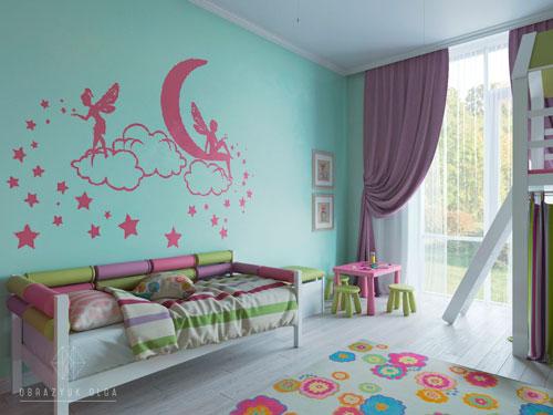 Оформление стен в детской комнате фото 8