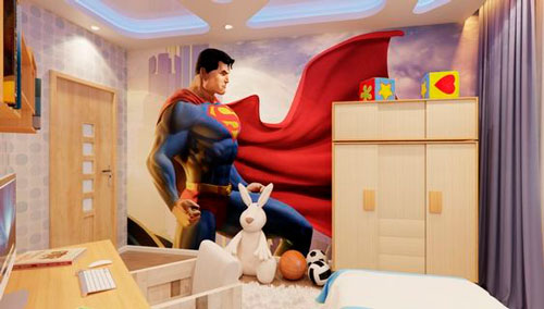 красивое оформление стен в деткой комнате наклейками 10