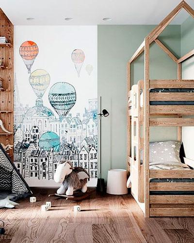 красивое оформление стен в деткой комнате наклейками 8