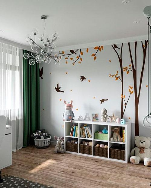 красивое оформление стен в деткой комнате наклейками 7