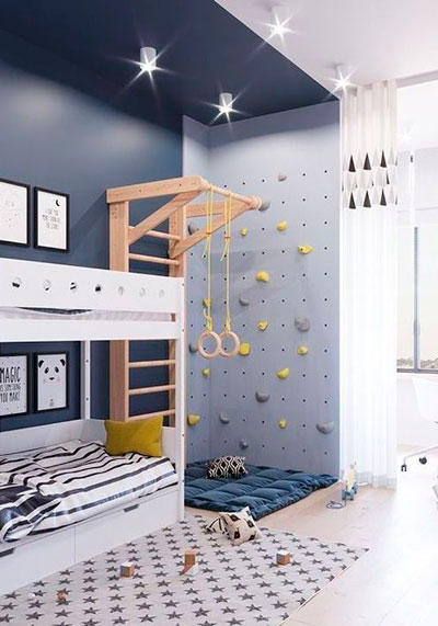 стены в детской с оригинальным оформлением