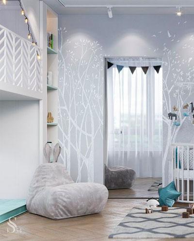 красивое оформление стен в деткой комнате наклейками 5